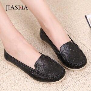 Image 4 - Mocassins en cuir pour femmes, chaussures plates découpées, soins infirmiers, collection 2020, printemps chaussures plates