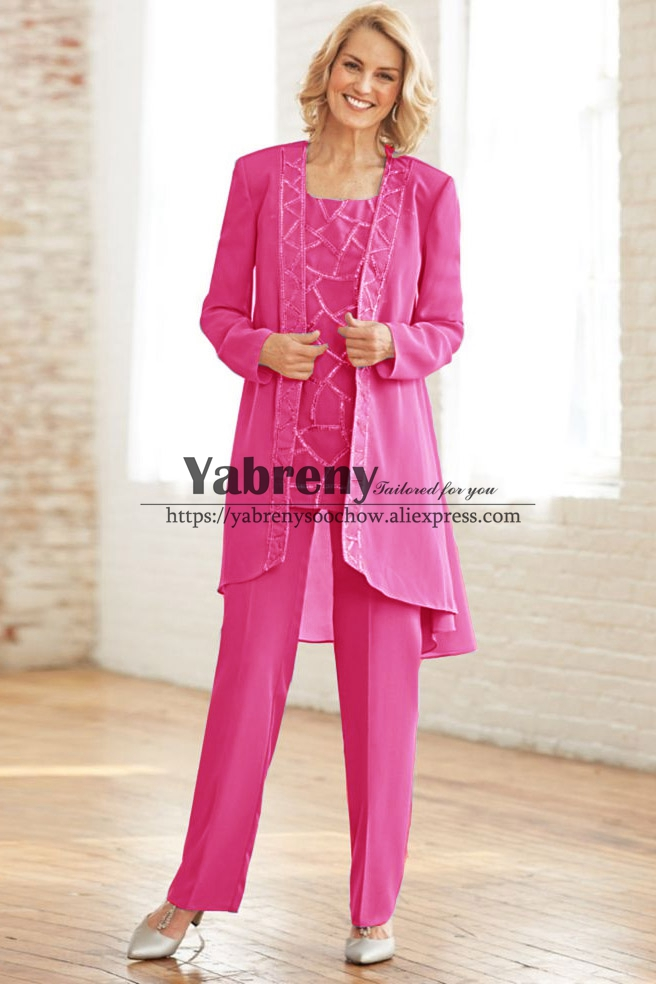 Fuchsia Chiffon Mother Of The Bride Pant Suit Dress With  Elastic Waist Trouser Plus Size