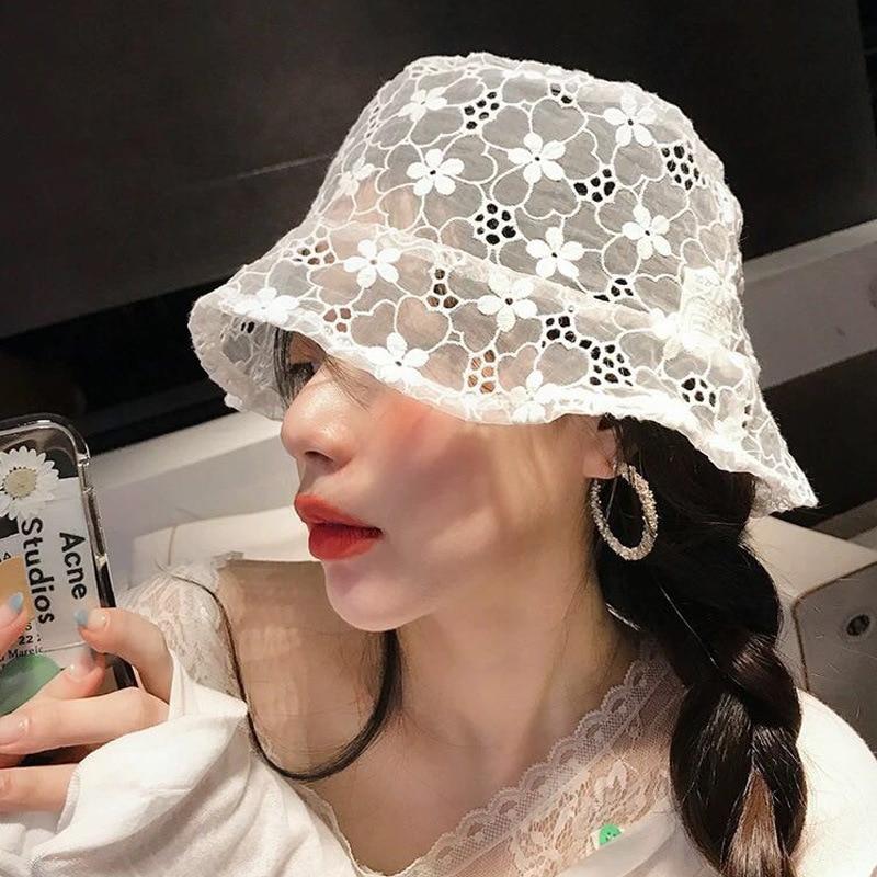 2020 New Korean Fashion Lace Black Bucket Hat Summer Sun Hats For Women Hollow Flower Fishermen Hat Casual Lady Bucket Hat H63