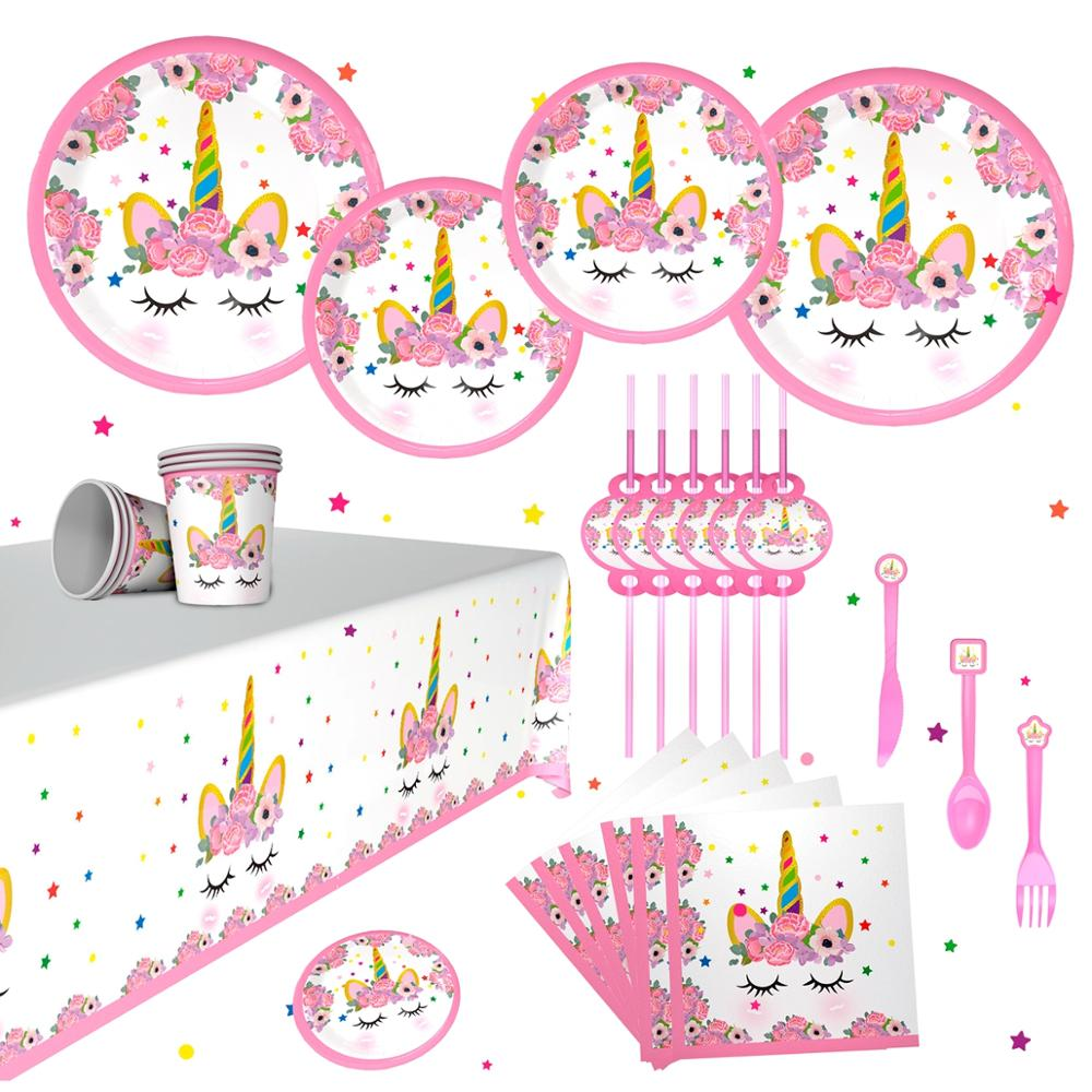 QIFU New Unicorn Tableware Kids Birthday Party Events Disposable Unicorn Plates Napkins Cups Unicorn Birthday Party Supplies in Disposable Party Tableware from Home Garden