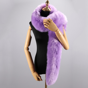 Image 2 - 180cm חורף חם צעיף צווארון צעיף כורכת ליידי פרווה ארוך צעיפי מוצק צבע סימולציה פרוות שועל Pashminas עבור נשים מעיל מעילים