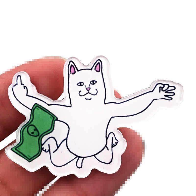 1PCS מכירה לוהטת חתול קריקטורה תג מצחיק בעלי החיים סמל אקריליק סיכת קישוט על בגדי תרמיל לילדים אביזרי DIY