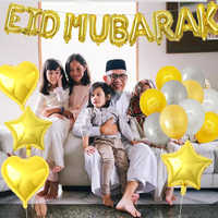 Cartel de Eid Ramadán para Feliz Eid, globos de MUBARAK, decoración de Ramadán Kareem, suministros de bricolaje para fiestas islámicas y musulmanas