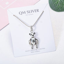 925 Sterling Cute Playfully Bear Sweater Chain Thai Silver Retro Antique Finish round Beads Dancing Bear Necklace 7533(China)