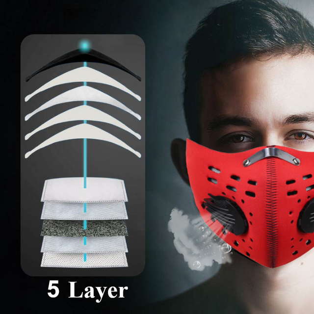 5Pcs 5-Layer Filter Anti Pollution PM2.5 Mask Bike Cycling Mouth Masks With Air Filter Mouth-muffle Bacteria Proof Flu Face 2