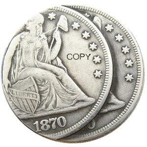 США 1870CC Сидящая Liberty Dollar два лица ошибка Посеребренная копия монеты