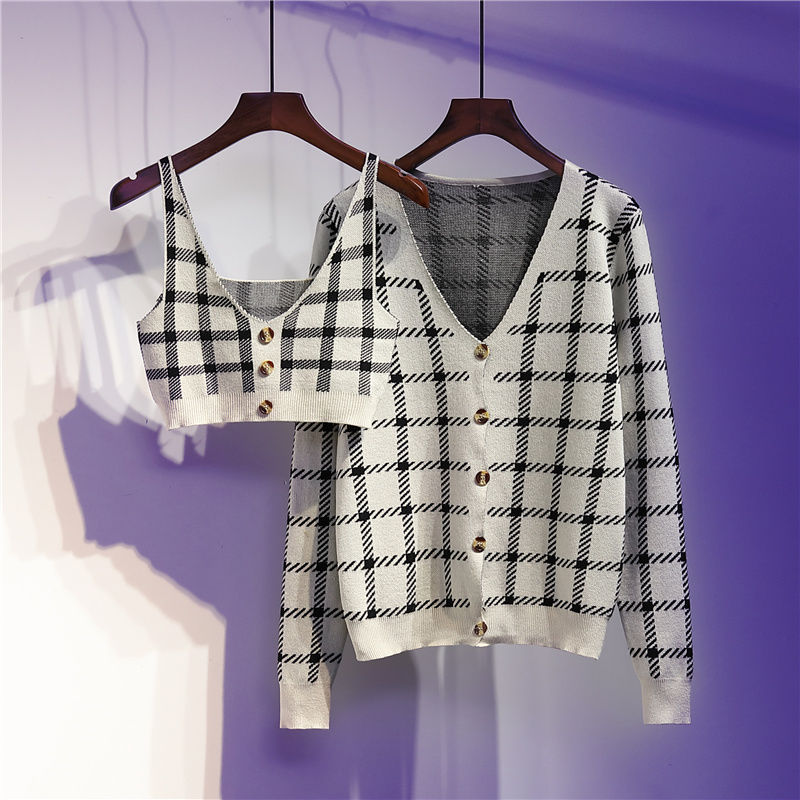 Retro Style Sexy Short Suspenders + Plaid Knitted Jacket Two-piece Women 2020 Spring And Autumn Fashion Suit