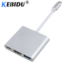 KEBIDU 4K Usb c HDMI Type c HDMI USB 3.1 Converter Adapter Typec to HDMI HDMI/USB 3.0/Type C HUB Cable Aluminum For Macbook