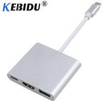 محول Usb c HDMI من KEBIDU بجودة 4K نوع c HDMI محول USB 3.1 Typec إلى HDMI/USB 3.0/Type C كابل محور من الألومنيوم لـ Macbook