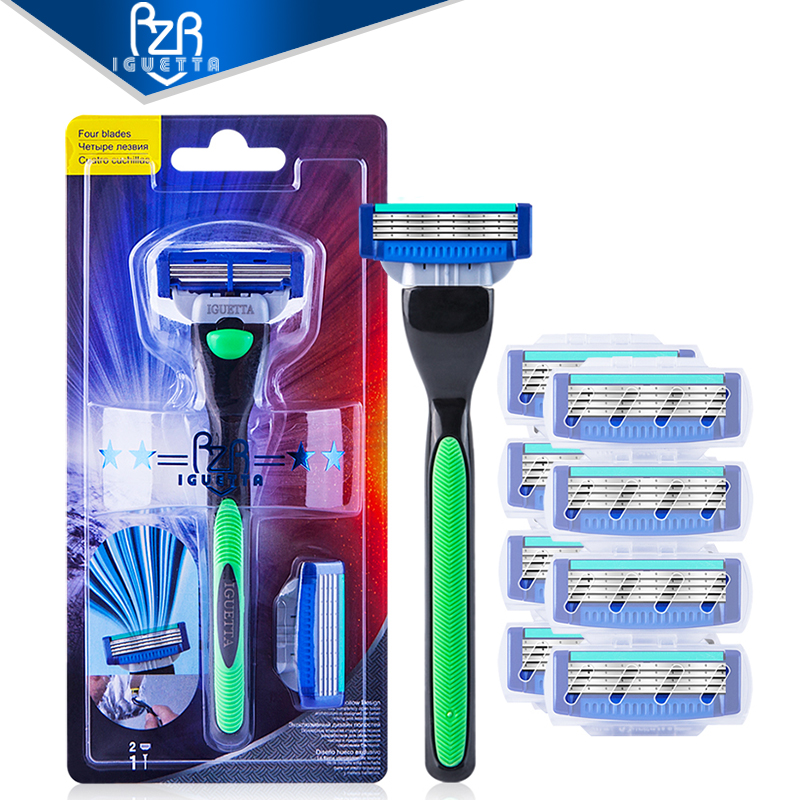RZRIGUETTA Combo Set Men Safety Traditional Classic 4 Layers Shaving Hair Blade Razor Manual Stainless Steel Shaving Hair Blade