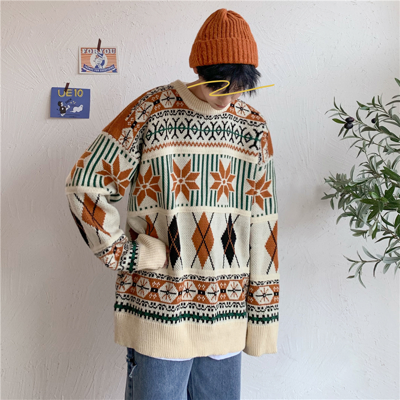 Winter Thick Sweater Men's Fashion Retro Casual Knit Pullover Men Streetwear Wild Loose Knitting Sweaters Male Sweter Clothes