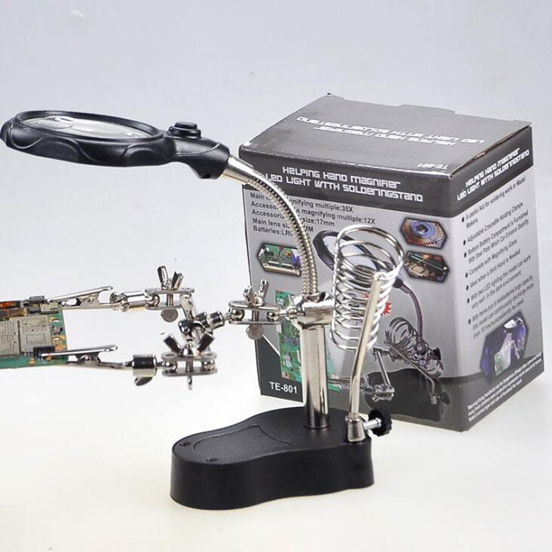 Eruntop MG16126-A LED Clamp Soldering Iron Stand Helping Hands Magnifying Glass Magnifier