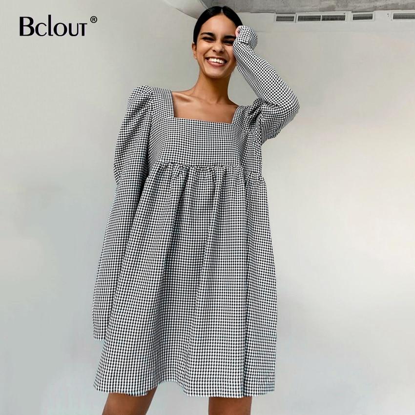 Bclout Black White Plaid Dress Vintage Puff Sleeve Mini Dress Woman Autumn Square Collar Casual Lady Vestido 2021 Zipper Sexy
