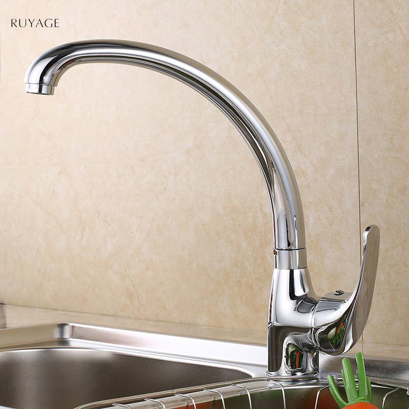 RUYAGE Kitchen Faucets 360 Degree Swivel Solid Zinc Alloy Kitchen Mixer Cold and Hot Tap For Kitchen Single Hole Water 6