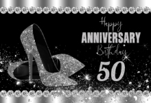 Black and Silver Glitter 50th Birthday Backdrop Anniversary Party Decorations Photo booth heels Photography Background