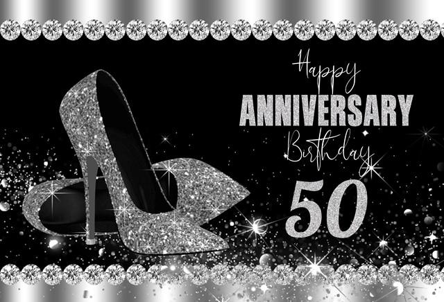 Fondo de 50 cumpleaños con purpurina negra y plateada decoración para fiesta de aniversario cabina de fotos tacones fondo de fotografía
