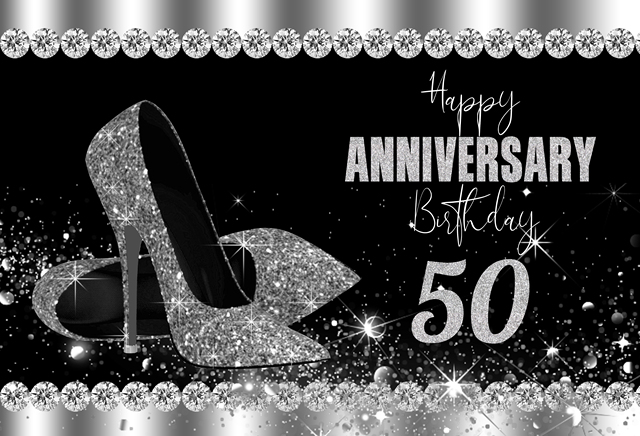 Nero e Argento di Scintillio 50th Di Compleanno Sfondo Anniversario Decorazioni Del Partito Photo booth tacchi Fotografia di Sfondo