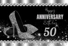 สีดำและSilver Glitter 50thวันเกิดครบรอบตกแต่งPhoto Boothรองเท้าส้นสูงการถ่ายภาพพื้นหลัง