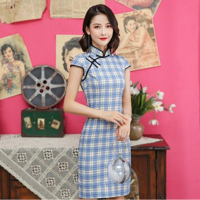 שנג קוקו כחול משובץ כותנה Cheongsam שמלת 2020 אישה ספרות סיני סגנון מודרני סריג Slim Qipao