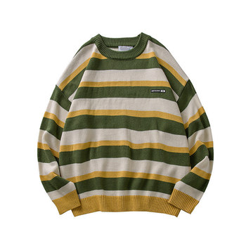 2020 Pullover Striped Sweater Oversized Mens Knitted Men Sweaters Hip Hop Harajuku Korean Casual Black Clothing