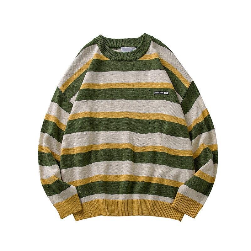2021 Пуловер Полосатый Свитер оверсайз мужские трикотажные свитера Хип-Хоп Harajuku корейский Повседневный черный свитер Мужская одежда