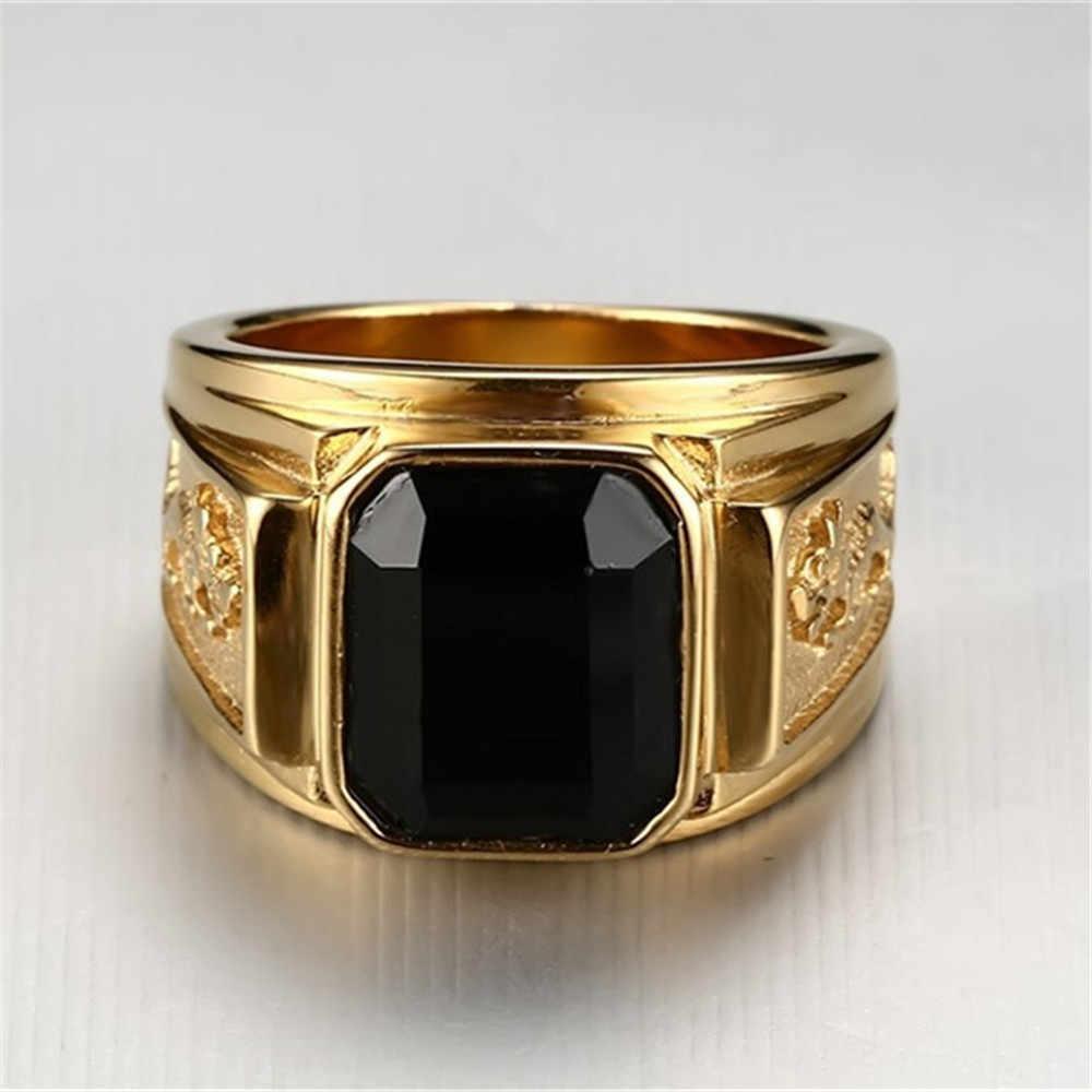 ใหม่แฟชั่นทอง/เงินขนาดใหญ่สีแดงสีดำสีเขียวสีฟ้าหิน Square Gold สีทองแดงโลหะผสมผู้ชายแหวนแกะสลักมังกรแหวนผู้ชาย