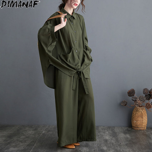 Two Piece Set Casual  Shirts Pockets Loose Long Pants Oversized  2