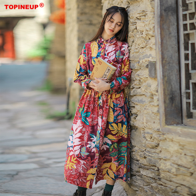 New Autumn Retro Ethnic Leisure Long Printing Cotton Linen Dress Loose Size Dress in Spring and Summer of 2019
