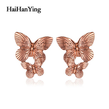 New Creative Animal Butterfly Female Earrings Retro Exaggerated Double Simple Luxury Charm Jewelry