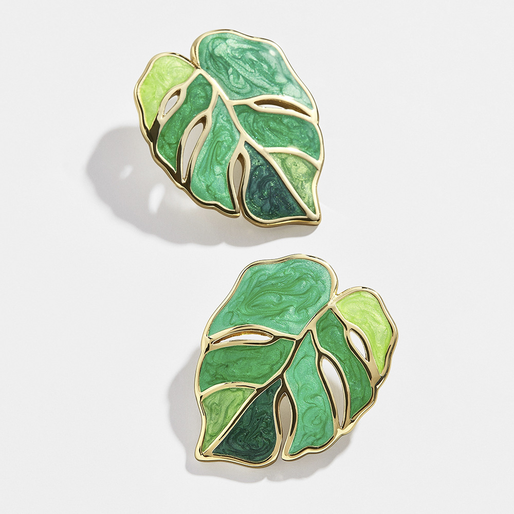 New Fashion Flower Leafs Earrings Female Enamel Green Plant Statement Drop Earrings for Women Party Jewelry Gifts