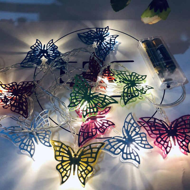 10 LED Butterfly String Lampu Surya Multi Warna LED Lampu Malam Suasana Lampu Rumah Pesta Meja Dekorasi Dinding 2.5M hangat Putih