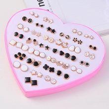 36 Pairs Assorted Crystal Crown Leaf Stud Piercing Earrings Set Jewerly In BOX  H8WF