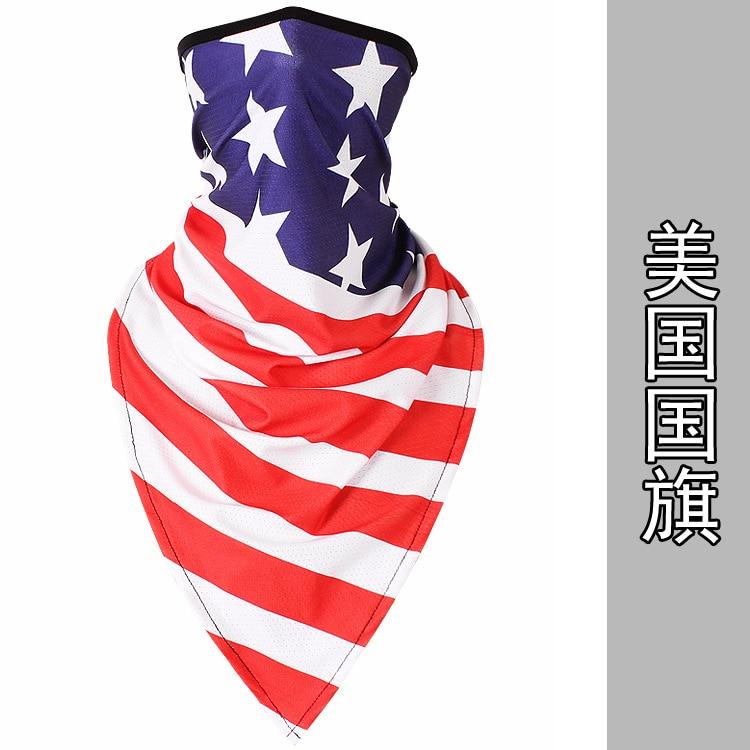Новое ледяное шелковое треугольное полотенце крутой дышащий платок на голову воротник Мужская и женская маска от Солнца маска ошейник - Цвет: U.S.A