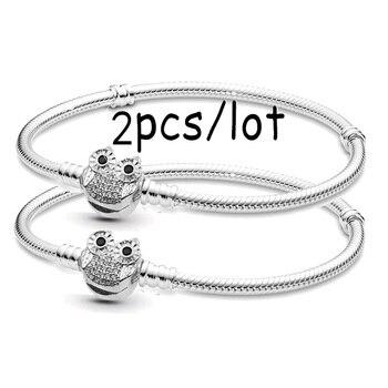 Boosbiy 2pc dropshipping cristal coruja fecho cobra corrente charme pulseiras para as mulheres ajuste moda charme pulseira jóias presente