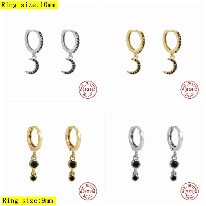 Solid 925 Sterling Silver Bling Black Ziron Moon Shape Drop Earrings Pendant Pendientes For Engagement Anniversary Wedding Gift