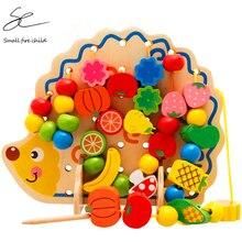 Монтессори игрушки для детей раннего обучения головоломки деревянные игрушки 82 шт. Ежик фрукты бусины упражнения руки-на способность