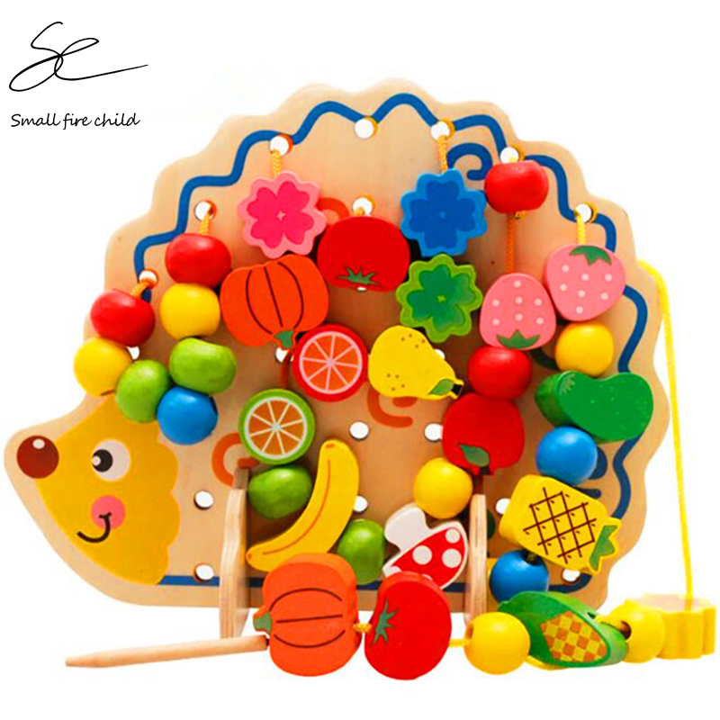 Montessori Toys Children Early Educational Learning Puzzle Wooden Toys 82 PCS Hedgehog Fruit Beads Exercise Hands-on Ability