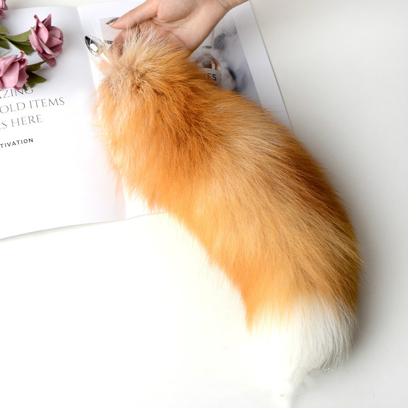 Real Fur Fox Tail Separable Anal Plug Metal Women