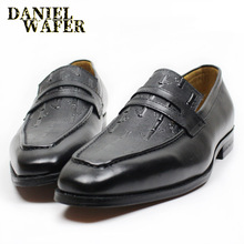 LUXURY ITALIAN MEN LEATHER SHOES OFFICE BUSINESS WEDDING MAN DRESS BLACK BROWN SLIP ON PENNY LOAFERS MENS