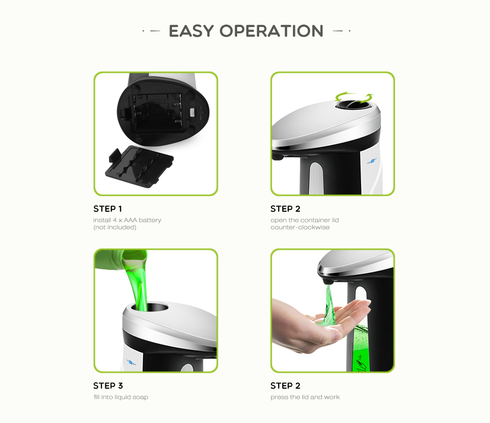 H0375a2c0803f4faa9657d6e982db9d35m Liquid Soap Dispenser 400Ml Automatic Smart Sensor Touchless ABS Electroplated Sanitizer Dispensador Bottle for Kitchen Bathroom