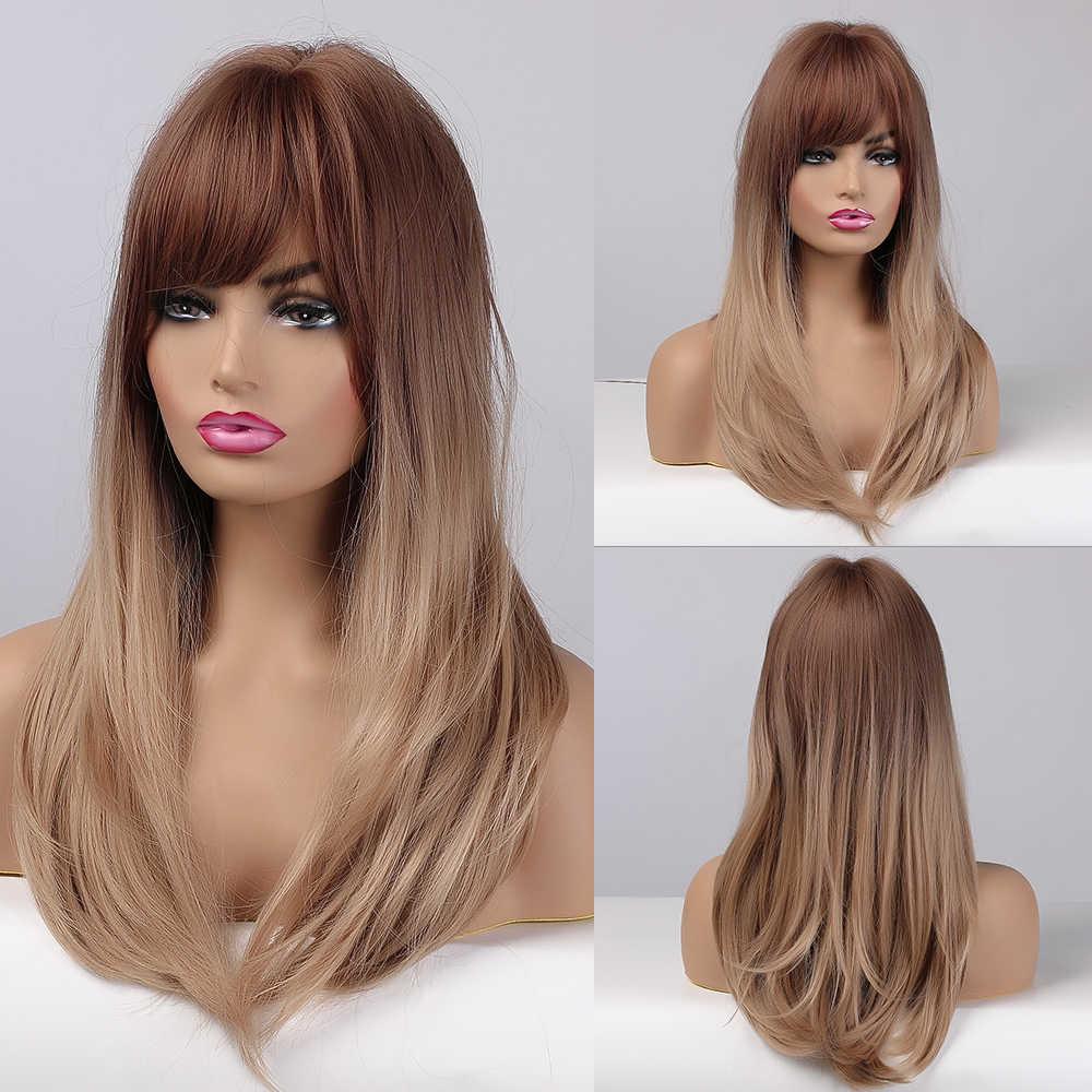 EASIHAIR Wig Lurus Panjang dengan Poni Hitam untuk Brown Ombre Sintetis Wig untuk Harian Wanita Rambut Wig Tahan Panas