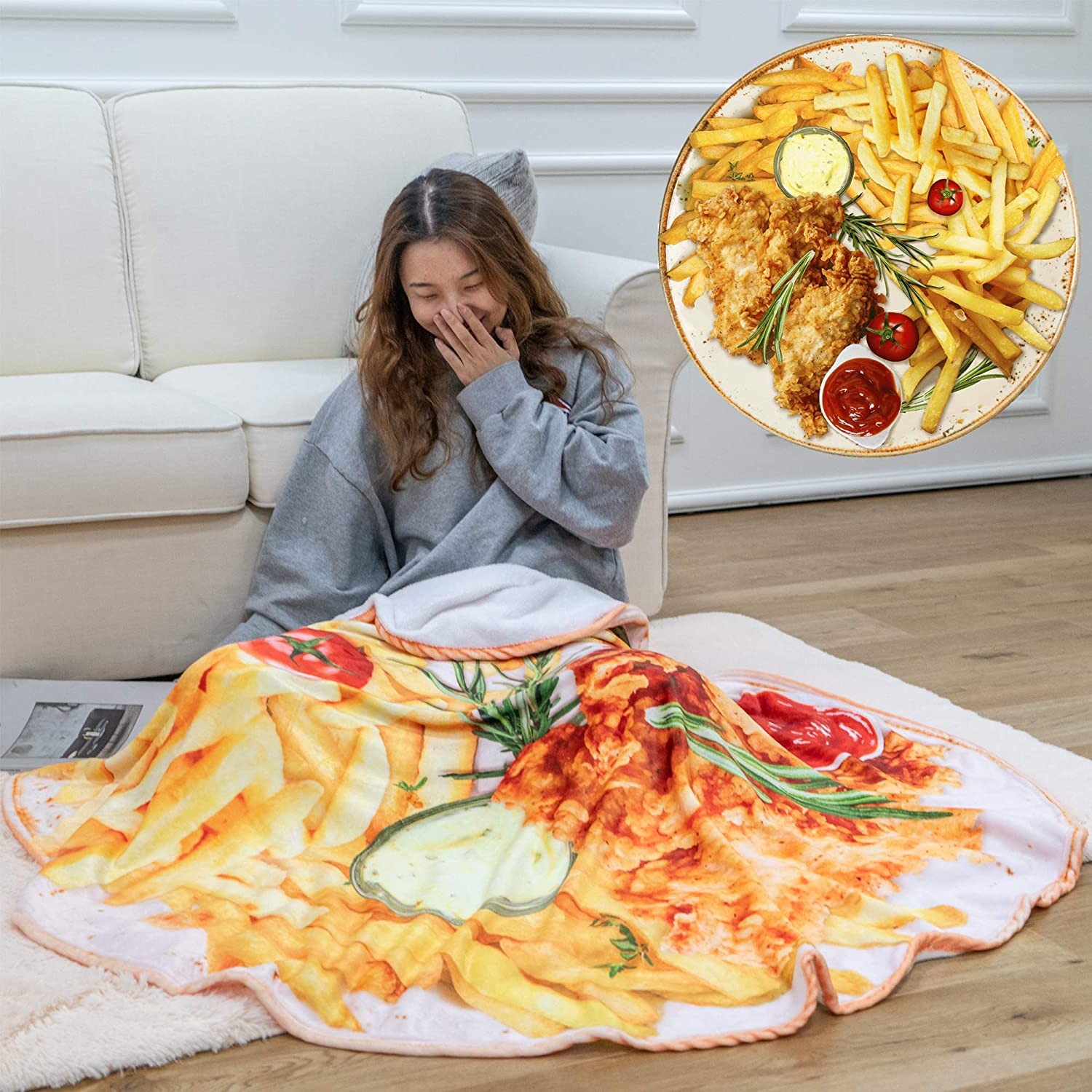 OLIVE HOME Chips Chicken Food Throw Blanket 3D Print Soft Flannel Winter Warm Round Blankets Decorative Blankets For Bed Sofa