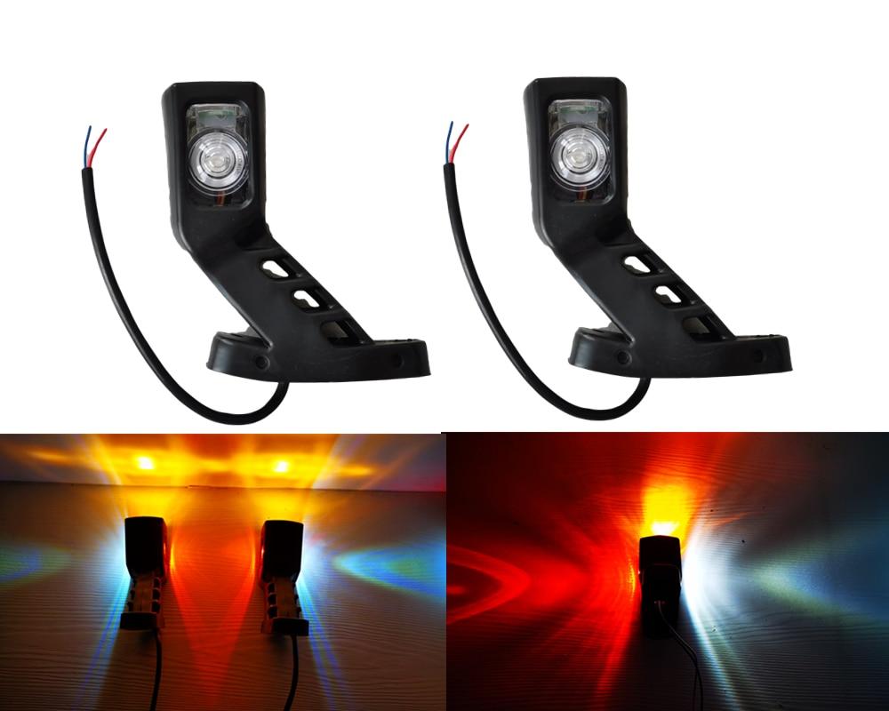 1pair 10-30v Car Truck Trailer Caravan Van 3 face Red Amber White 4 LED Marker Side Light Outline Lamp external Lights 24V