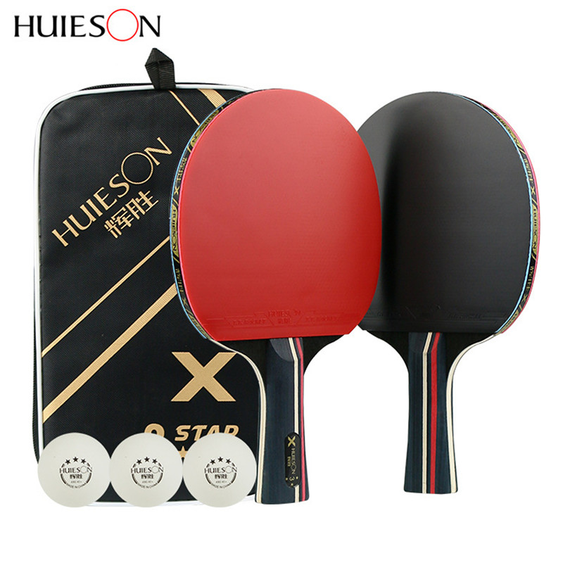 2Pcs 3 Star Table Tennis Bat Racket Long Cable Short Ping Pong Paddle Racket Set With Bag 3 Balls Double Sided Pimples In