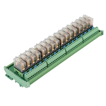 Relay Module, 12V 16 Channels Relay Module for PLC Amplifier Board/Din Rail Installation Electronic Kit Components Relay Module