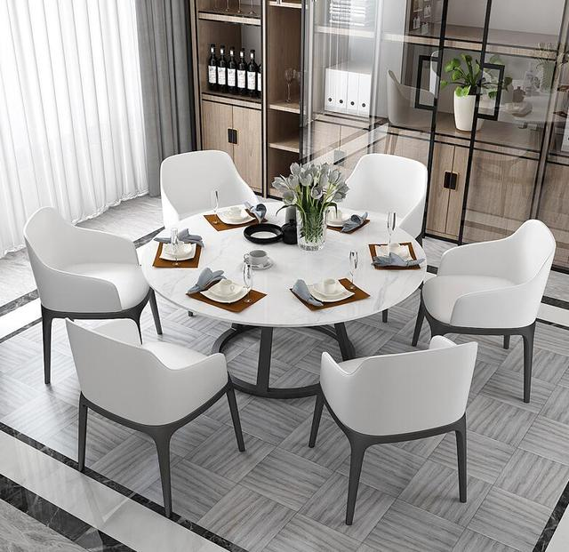 Round Marble Dining Table and Chair Combination  2