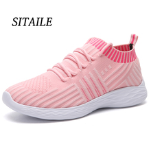 Купить с кэшбэком SITAILE Women's Shoes Sneakers Flat Knitting Autumn Plus Size New Female Vulcanized Ladies Slip On Breathable Casual