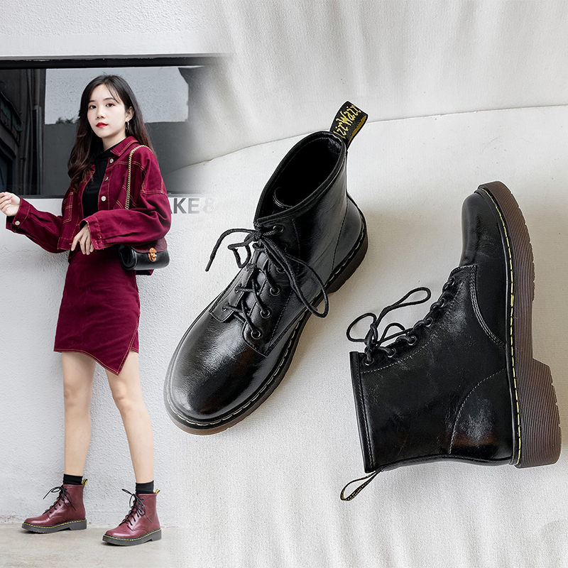 2020 spring Fashion Flat Platform Boots Women Shoes Round Toe Lace-up Leather high quality Martin boots Ladies Shoes Size 33-43