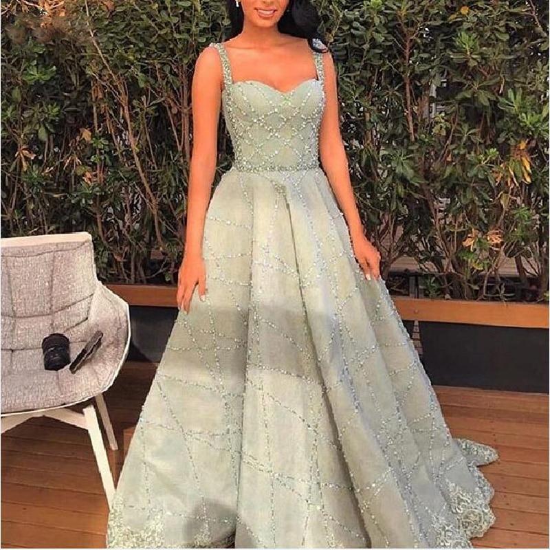 Custom Made Princess Evening Gowns Popular Color Floor Length vestido de festa Luxury Prom Gown Beads