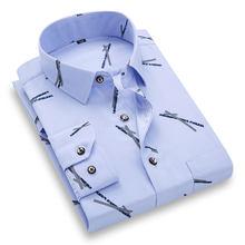 Moda nova masculina impresso camisas casuais moda fina macio regular ajuste social floral manga longa praia popular camisa